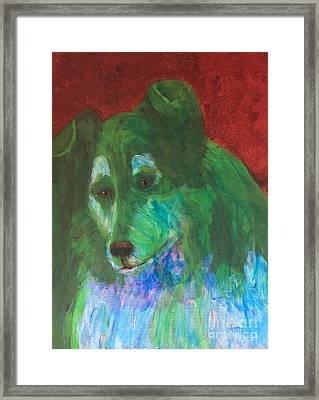 Framed Print featuring the painting Green Collie by Donald J Ryker III