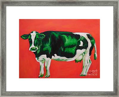 Green Cow Framed Print