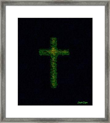 Green Cross - Palette Knife Style - Pa Framed Print by Leonardo Digenio