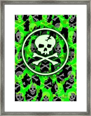 Green Deathrock Skull Framed Print