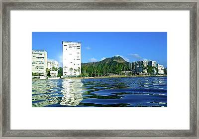 Green Diamond Head From The Water Framed Print by Erika Swartzkopf