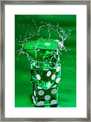 Green Dice Splash Framed Print by Steve Gadomski