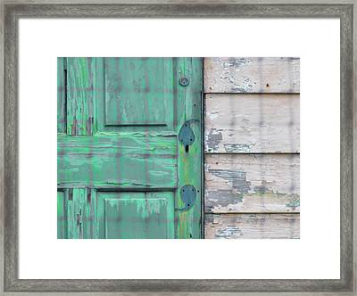 Green Door And Clapboard Framed Print by Bill Cannon