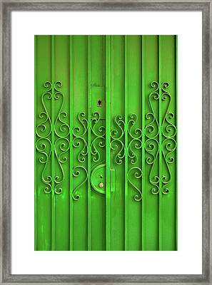 Framed Print featuring the photograph Green Door by Carlos Caetano
