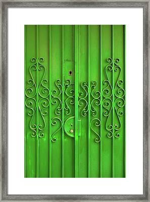 Green Door Framed Print by Carlos Caetano