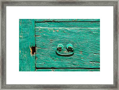 Green Door Handle Of Tuscany Framed Print by David Letts