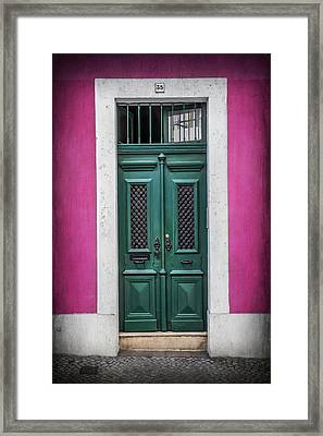 Green Door In Lisbon Framed Print by Carol Japp