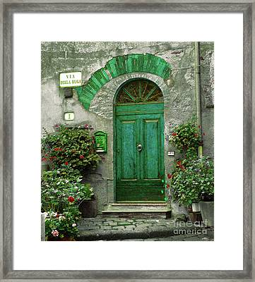 Green Door Framed Print by Karen Lewis