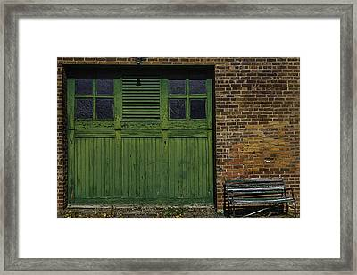 Green Door Shaker Wash House Framed Print by Garry Gay