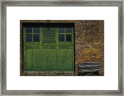 Green Door Shaker Wash House Framed Print by Garry Gay