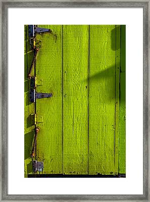 Green Door With Hinges  Framed Print by Garry Gay