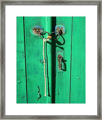 Green Door With Spectacles Framed Print by Donald Buchanan