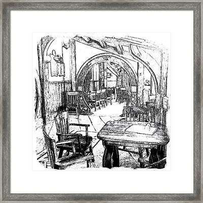 Framed Print featuring the drawing Green Dragon Inn Nook by Kathy Kelly