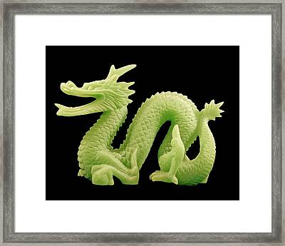 Framed Print featuring the photograph Green Dragon On Black by Bill Barber