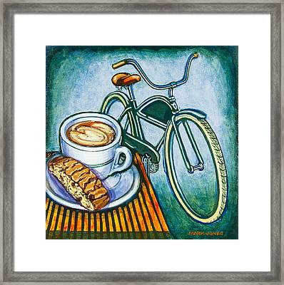 Green Electra Delivery Bicycle Coffee And Biscotti Framed Print by Mark Jones