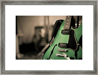 Green Electric Guitar With Blurry Background Framed Print by Sean Molin - www.seanmolin.com