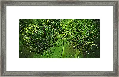Green Explosions - Green Modern Art Framed Print by Lourry Legarde