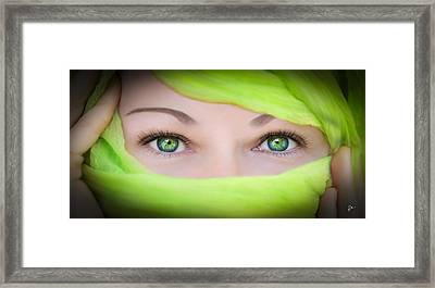 Green-eyed Girl Framed Print by TK Goforth
