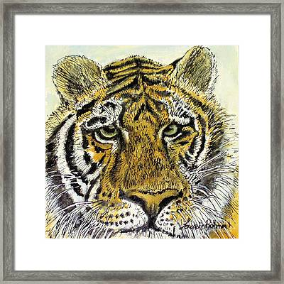 Framed Print featuring the painting Green Eyed Tiger by Laurie Rohner