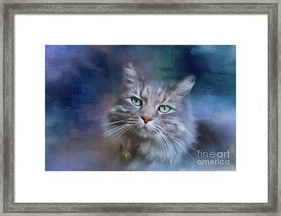 Green Eyes - Cat Art By Michelle Wrighton Framed Print by Michelle Wrighton