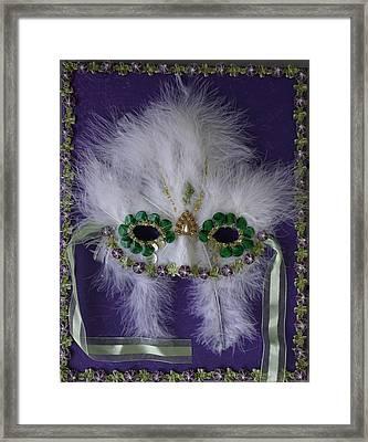 Green Eyes Mask Framed Print