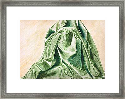 Green Fabric Framed Print by Zara GDezfuli