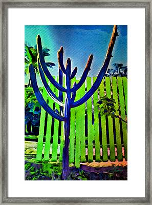 Framed Print featuring the painting Green Fence by Joan Reese