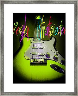 Framed Print featuring the photograph Green Fender Stratocaster  by Guitar Wacky