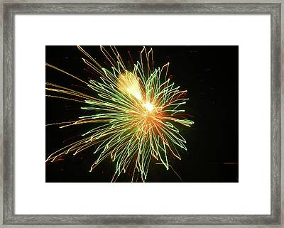 Green Fireworks Framed Print by Laura Catherine