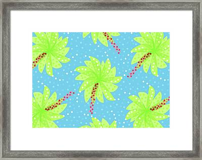 Green Flowers In The Wind Framed Print