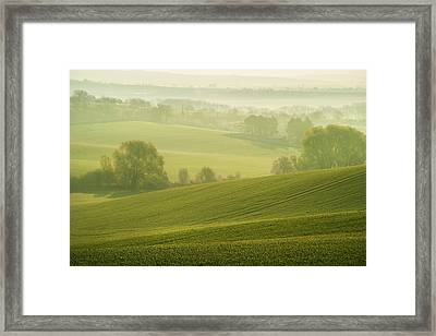 Green Foggy Waves Framed Print