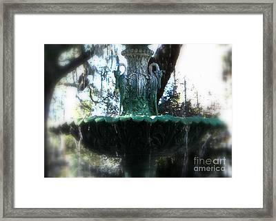 Green Fountain Framed Print by Carol Groenen