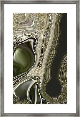 Framed Print featuring the digital art Green Friends by Roena King