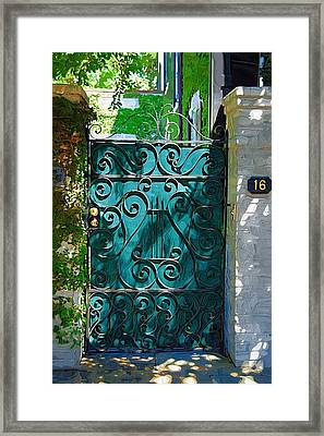 Green Gate Framed Print by Donna Bentley