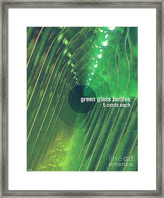 Framed Print featuring the photograph Green Glass Bottles by Phil Perkins