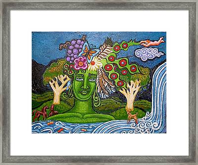 Green Goddesswith Waterfall2 Framed Print