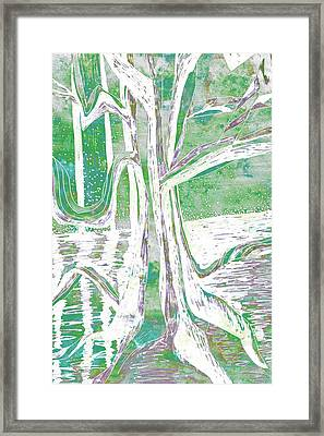 Green-grey Misty Morning River Tree Framed Print