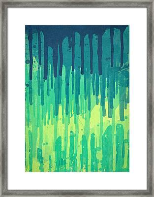 Green Grunge Color Splatter Graffiti Backstreet Wall Background Framed Print by Philipp Rietz