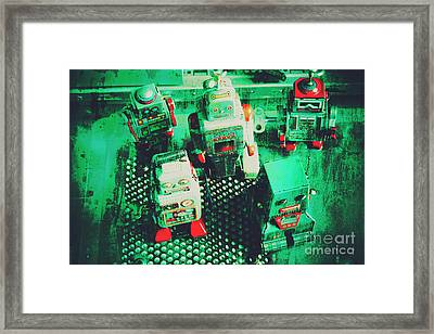 Green Grunge Comic Robots Framed Print