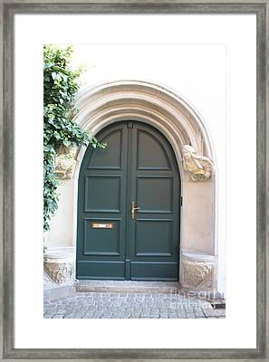 Green Guarded Door Framed Print by Christiane Schulze Art And Photography