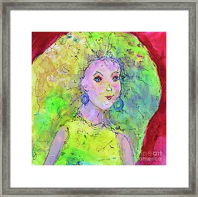 Framed Print featuring the painting Green Hair Don't Care by Claire Bull