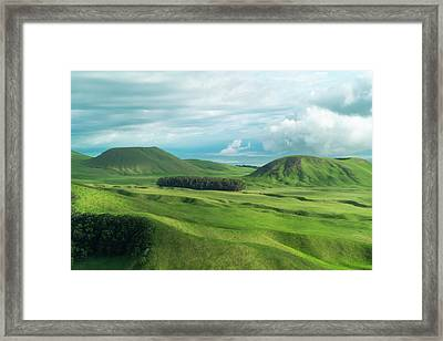 Green Hills On The Big Island Of Hawaii Framed Print by Larry Marshall