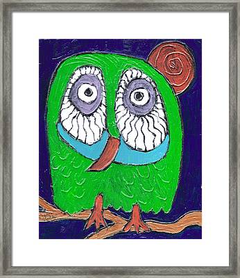 Green Hooter Framed Print by Wayne Potrafka