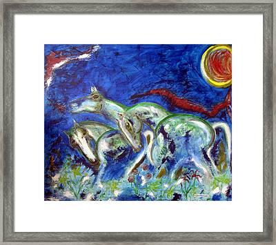 Green Horses Framed Print by Narayanan Ramachandran