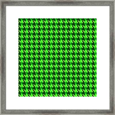 Green Houndstooth Check Framed Print
