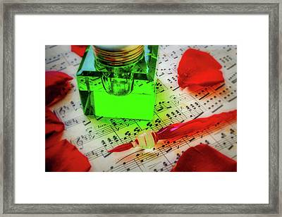 Green Ink Well And Red Pen Framed Print by Garry Gay