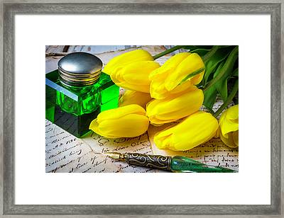Green Ink Well And Yellow Tulips Framed Print