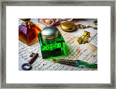 Green Ink Well Framed Print