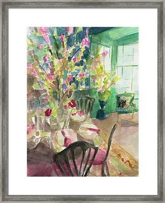 Green Interior With Cherry Blossoms Framed Print by Beverly Brown