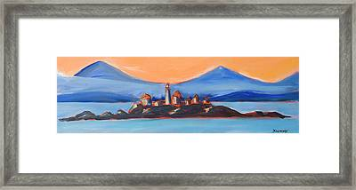 Framed Print featuring the painting Green Island Lighthouse by Yulia Kazansky
